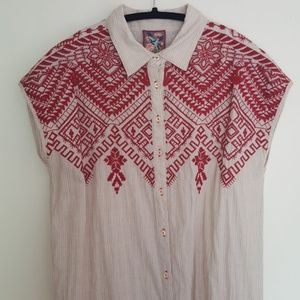 Johnny Was embroidered long tunic top or dress S
